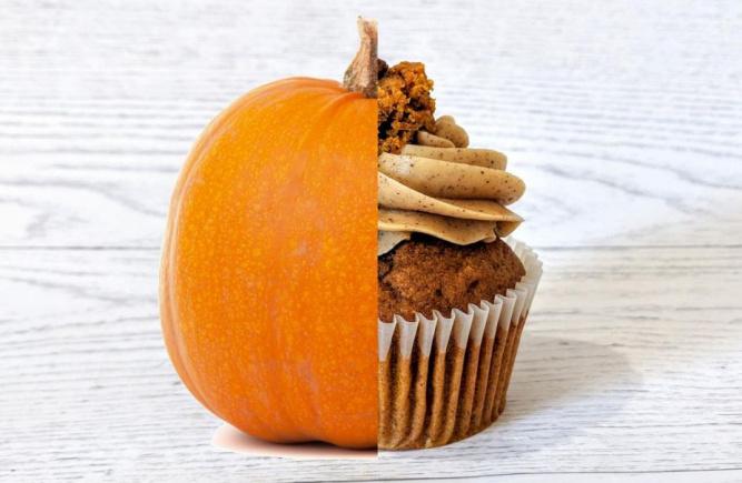 Essayez notre nouveau cupcake à la citrouille épicée!